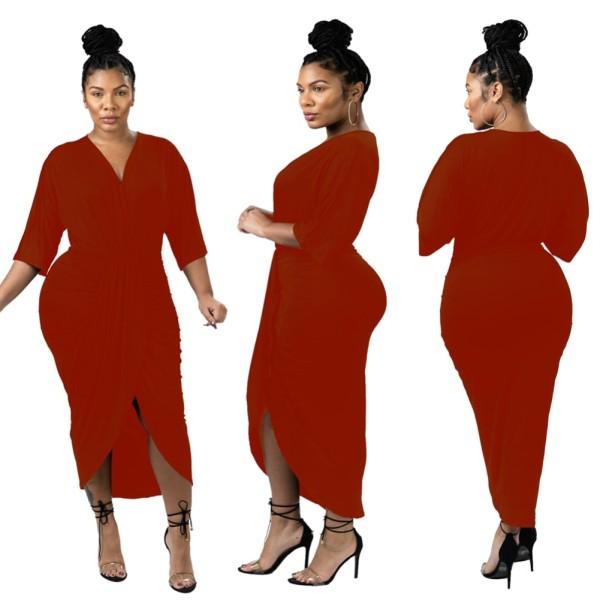 Einfarbig sexy unregelmäßig gewickeltes Kleid