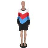Langärmliges Hemdkleid mit V-Ausschnitt