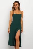 Sangles vert sexy fente longue robe de soirée