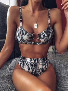 Sexy cobra pele O-Ring duas peças Swimwear
