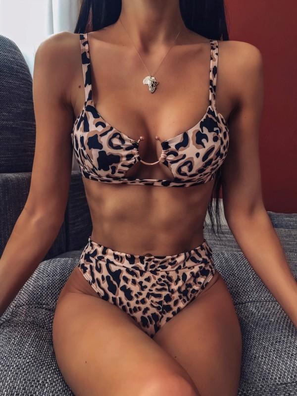 Sexy Leopard O-Ring Zweiteilige Badebekleidung