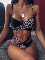 Traje de baño cruzado de dos piezas de leopardo sexy