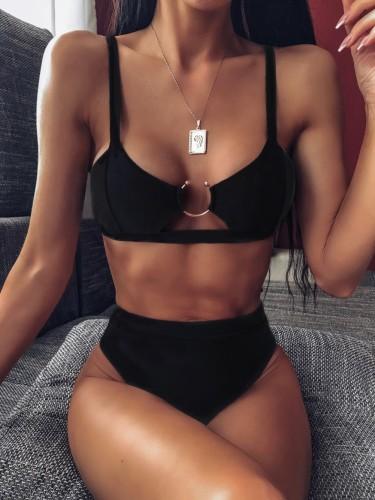 Maillot de bain sexy noir deux pièces avec joint torique