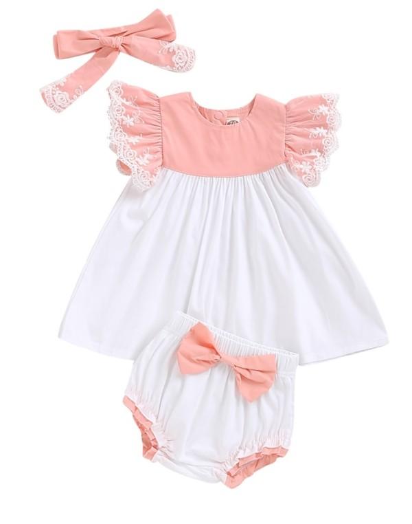Baby Girl Ruffle Top und Shorts Set mit Stirnband