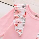 Baby Girl Floral Strampler und Hosen Set mit Stirnband