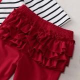Kinder Mädchen Herbst Streifen Top und schiere Hosen Set