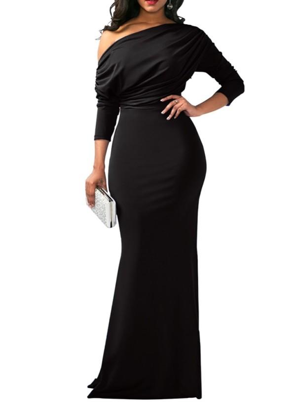Sheer Langarm Meerjungfrau Abendkleid mit Slash Shoulder