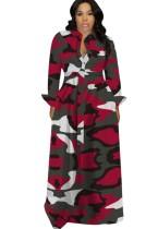Vestido largo de manga larga con estampado de camuflaje