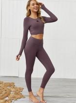 Conjunto de legging y camisa de yoga de manga larga con cuello redondo transparente