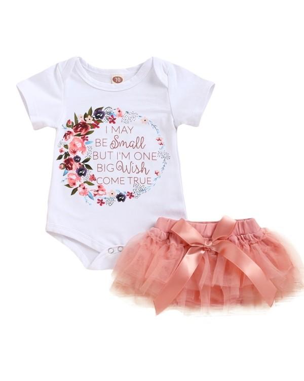Baby Girl Print Strampler und Tutu Röcke Set