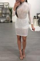 Robe de soirée blanche à perles sexy