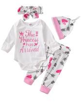 Şapka ve kafa bandı ile bebek kız baskı tulumu ve pantolon seti