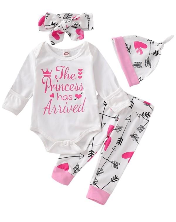 Baby Girl Print Strampler und Hosen Set mit Hut und Stirnband