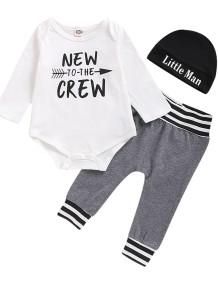 Baby Boy Print Strampler und Hosen Set mit Hut