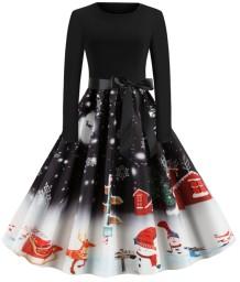 Robe patineuse vintage avec imprimé de Noël