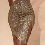 Pailletten sexy unregelmäßigen Schlitz Partykleid