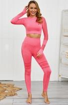 Conjunto de legging y sujetador de yoga de manga larga con rejilla sexy