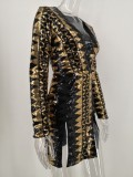 Pailletten V-Ausschnitt Schlitz Partykleid mit Ärmeln
