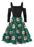 Weihnachten Print Vintage Straps Skater Kleid mit Ärmeln