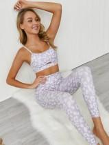 Conjunto de sujetador y legging de yoga sexy estampado