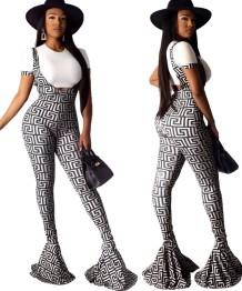 Pantalon à bretelles imprimées et à bout droit