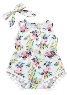 Baby Girl Print Sleeveless Rompers with Headband