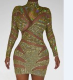 Pailletten Gold Sexy Club Kleid mit Ärmeln