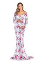 Sexy lieverd bloemen zwangerschaps lange jurk met mouwen