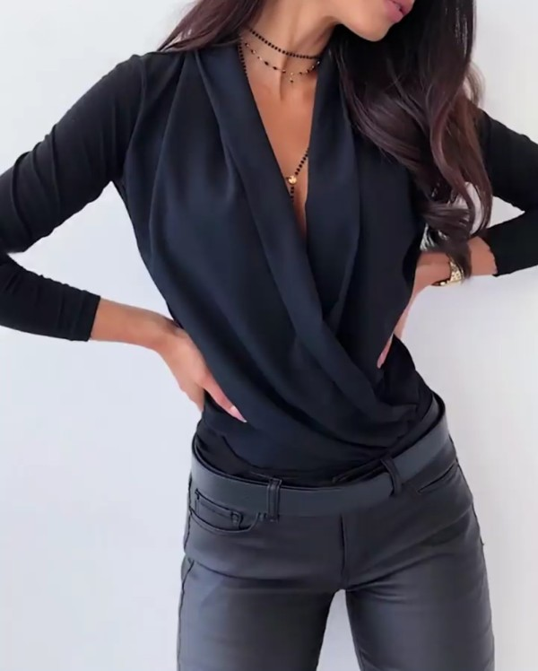 Sheer Elegant Dripped Wrap Blouse à manches