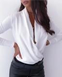 Sheer Elegant Damalı Kol Yaka Detaylı Bluz