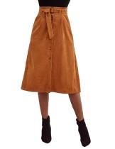Falda larga de terciopelo de una línea de cintura alta