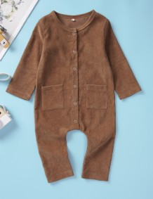 Baby Girl Button Up Long Sleeves Jumpsuit Rompers