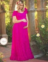 Overal kanten korte mouwen Zwangerschaps lange jurk