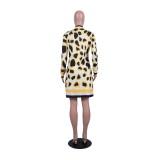 Drucken Leopard Long Sleeves Sweater Coat