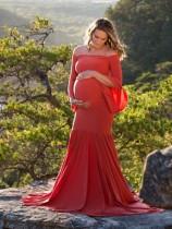 Pure off shoulder moederschap zeemeermin lange jurk