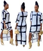 袖付きプリントチェック柄スリットロングドレス