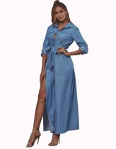 Blue Denim Slit Long Dress with Sleeves