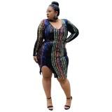 Plus Size Pailletten Streifen Schlitz Partykleid