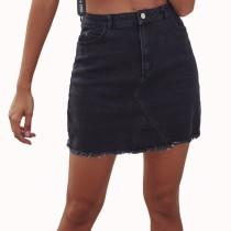 Minifalda sexy de mezclilla negra