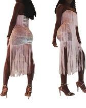Sequins Sexy Fringe Uzun Parti Kıyafeti