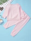 Kinder Mädchen Print Pink Langarm Shirt und Hose Set