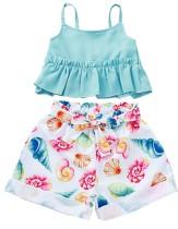 Top da bambina con cinturini estivi e pantaloncini stampati