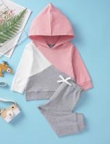 Kinder Mädchen Kontrast Long Sleeves Hoody Sweat Suit