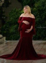 Sheer Off Shoulder Mutterschaft Meerjungfrau langes Kleid