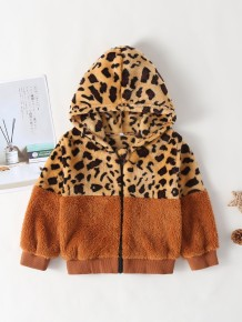 Kids Girl Leopard Print Fleece Hoody Jacket