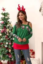 Camisa irregular navideña suelta y ajustada