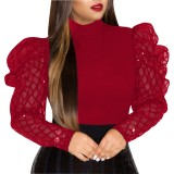 Rotes Sexy Party Top mit Puffärmeln