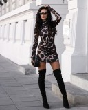 Leopard Long Sleeves High Neck Minikleid