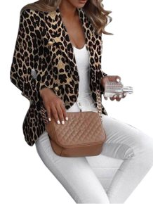 Leopard Print Long Sleeves Offical Blazer