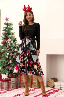 Christmas Vintage Skater Dress with Sleeves